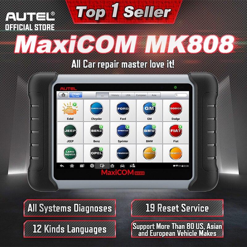 Autel MaxiCOM MK808 OBDII Automotive Scanner IMMO EPB SAS BMS TPMS DPF Service diagnostic tool MD802 All System + MaxiCheck Pro
